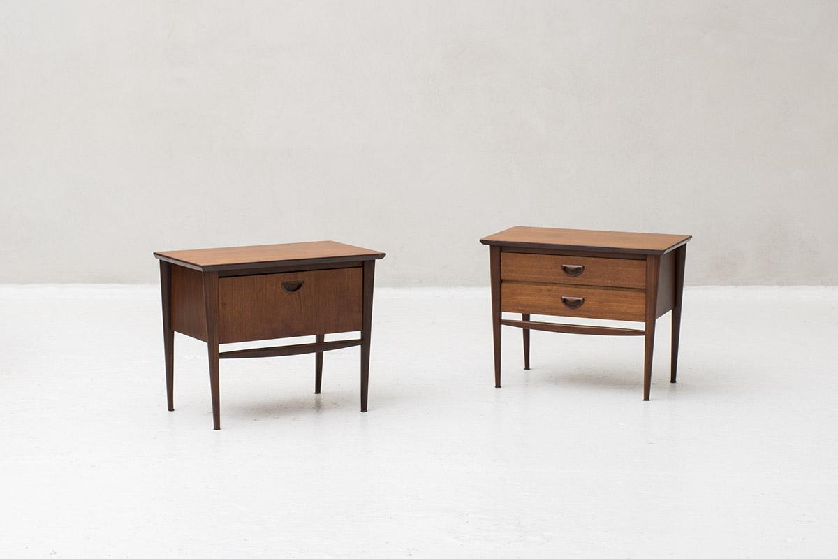 3 Vintage Bijzettafeltjes.Night Stands Nome Furniture