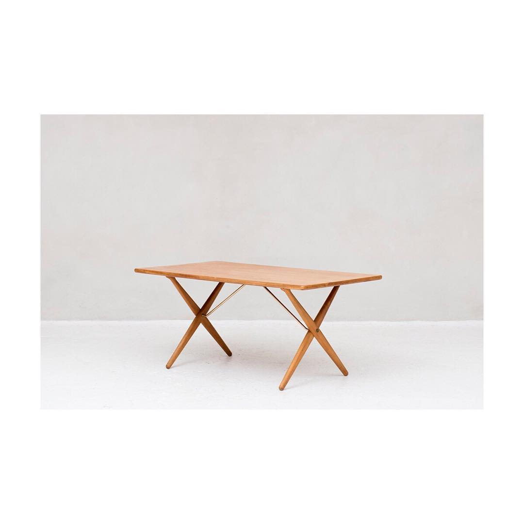 Dining table, model AT-303, 'Saw Horse Table' designed by Hans J. Wegner and produced by Andreas Tuck in Denmark in 1960.